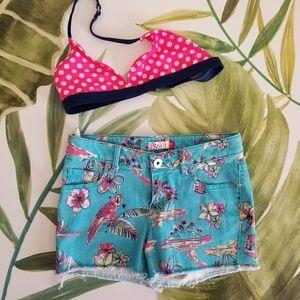 SO Hawaiian Jean Shorts / OP Bikini Top Combo